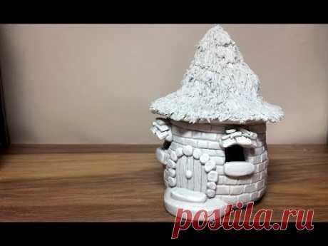 DIY DAS Paper Clay Brick Fairy House/Hut Lantern  Night Light House Craft Idea