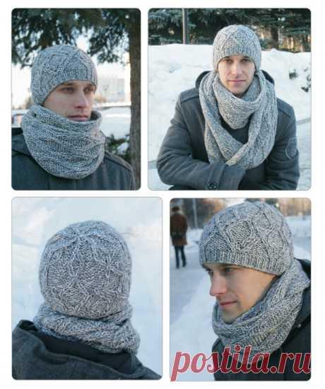 Мужские шапки, 38 моделей с описанием связанных спицами, Вязание для мужчин спицами