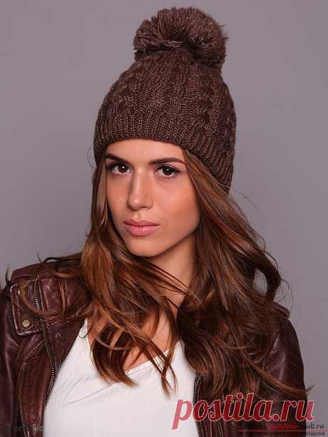 Вязание зимней шапки с помпоном спицами. Подробная схема с описанием и фото для начинающих