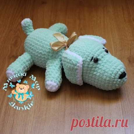 1000 schemes of an amiguruma in Russian: Knitted doggie of Busya