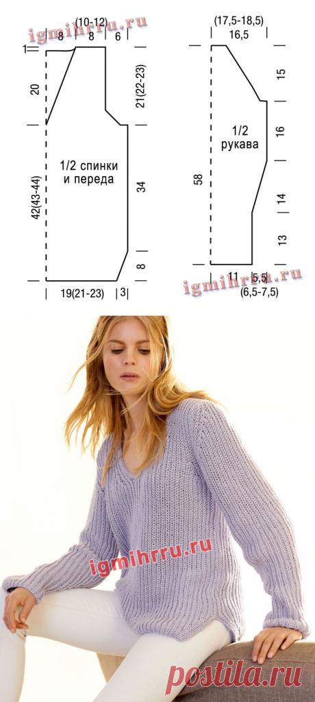 Сиреневый пуловер объемной вязки патентным узором. Вязание спицами со схемами и описанием