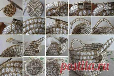 Вязанная корзинка - Море идей - рукоделие, декор дома, поделки и hand made.
