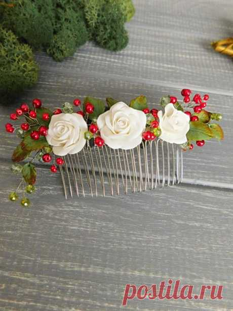 Bridal hair comb Wedding headpiece Roses hair comb White red comb Flower hair comb Pearl comb Hair accessory Bridal hair Decorative comb Bridal hair comb Wedding headpiece Roses hair comb White red comb Flower hair comb Pearl comb Hair accessory Bridal hair Decorative comb Length - 4.7 inches \ 12 cm Diameter of the roses - 1 inch \ 2.5 cm  All details made by hand with love.   Please note that real colors may slightly