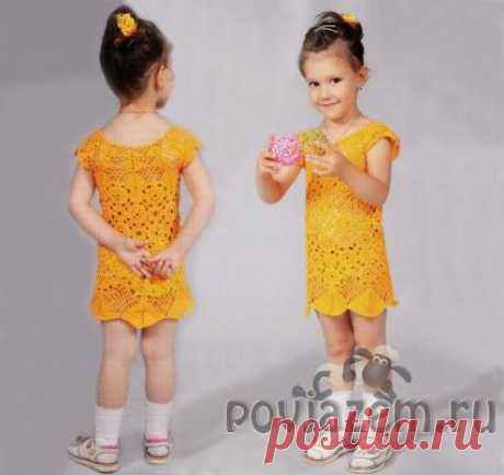 Ажурное платье крючком для девочки