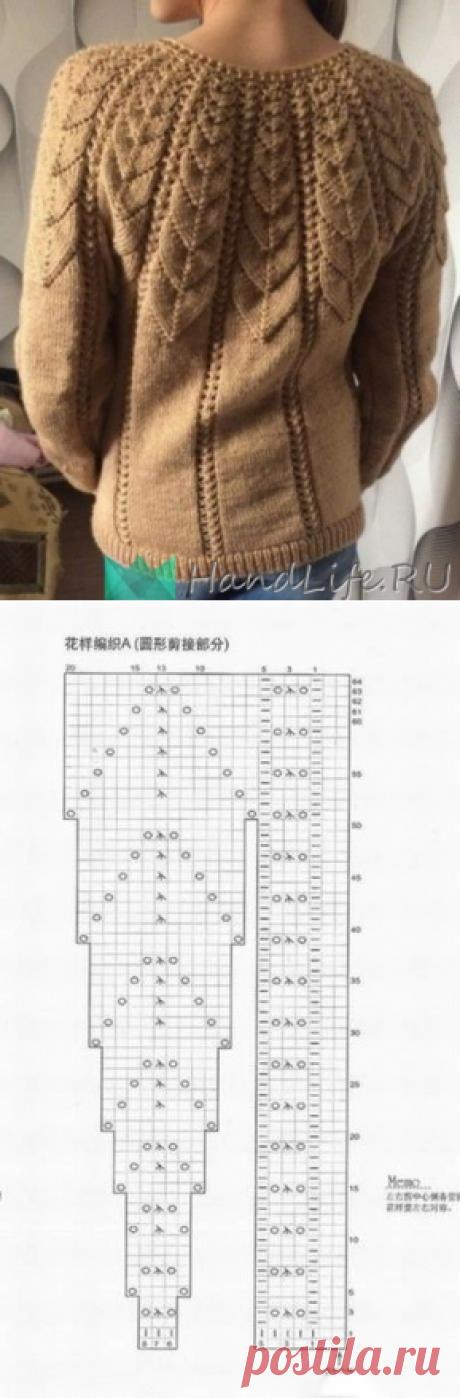 Свитер с ажурной кокеткой / Вязание