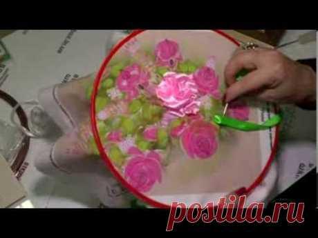 """Картина """"Розы и сирень"""". Вышивка лентами.."""
