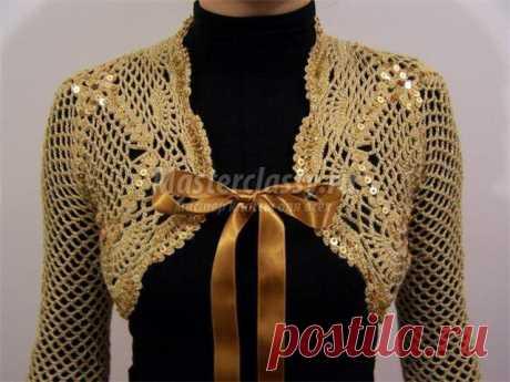 Вязаное болеро крючком. Схема и описание
