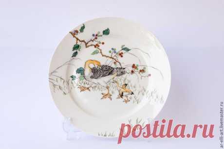 """Купить Фарфоровая декоративная тарелка """"Гусыня"""" - разноцветный, фарфоровая тарелка, фарфоровая посуда, декоративная тарелка"""