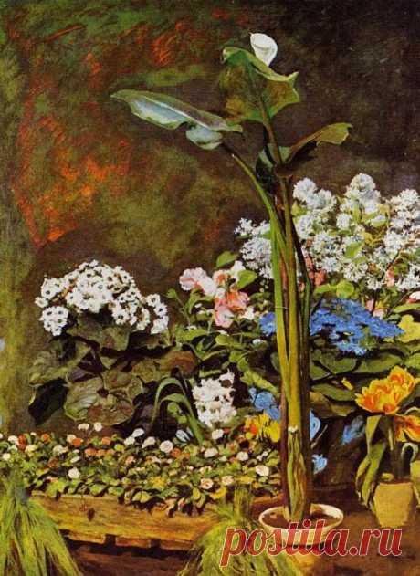 Арум и оранжерейные растения. Пьер Огюст Ренуар, 1864 г.
