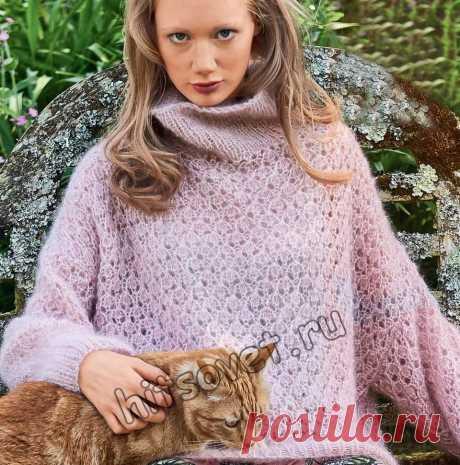 Мохеровый свитер - Хитсовет Вязание спицами для женщин мохерового свитера с красивым ажурным узором со схемой и пошаговым описанием.
