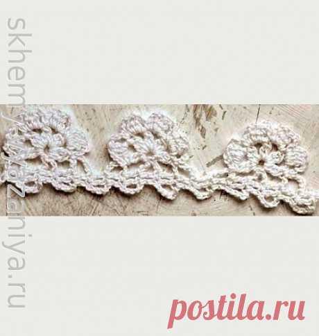 Узор крючком: кайма с цветами из пышных столбиков | Схемы-Вязания.ру