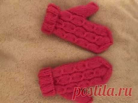 Варежки спицами «Полинкины малинки» » «Хомяк55» - всё о вязании спицами и крючком