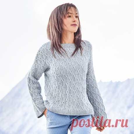 Голубой меланжевый джемпер - схема вязания спицами с описанием на Verena.ru