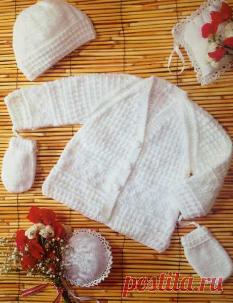 2bdd8f036bd4e baby knitting pattern vintage cardigan hat and mittens set in double knit  sizes 14 16 18