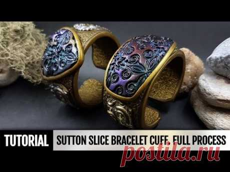 DIY How to make Unique Sutton Slice Bracelet Cuff. Polymer clay Jewelry making. ¡VIDEO Tutorial!