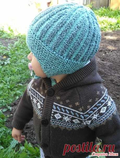 Winter hat cross knitting - Knitting for children - the Country of Mothers