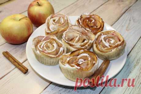 Яблочные розы из слоеного теста с вареньем: пошаговый фото рецепт | Fresh Recipes | Яндекс Дзен