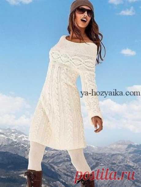 Вязаное платье спицами в стиле шамони. Вяжем спицами тёплое женское платье-тунику
