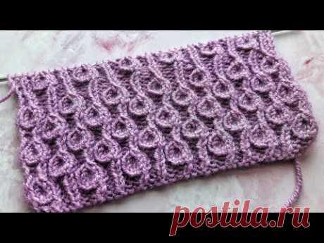 Эффектный узор спицами Барашки / Завитушки / Beautiful knitting pattern