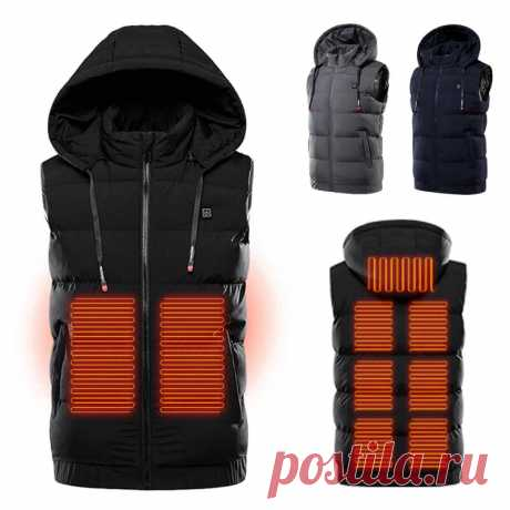Tengoo unisex 3-gears heated jackets heat coat usb electric thermal clothing 9 places heating hooded vest winter outdoor warm clothing Sale - Banggood.com