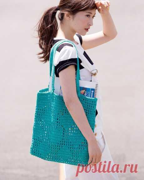 Филейная зеленая сумка Вязаная крючком филейная зеленая сумка. Схема