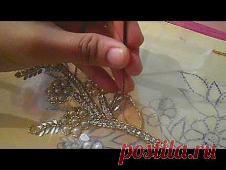 hand embroidery designs for dresses moti jari nag installation tutorial - YouTube