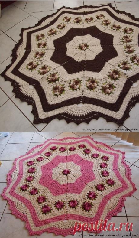 Невероятно красивые коврики крючком со схемой!