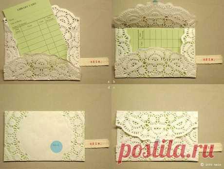 Конверт из ажурной  бумажной салфетки.