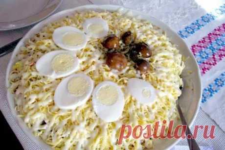 Мясной салат «Мельник» с грибами и сыром / Экстремальный досуг