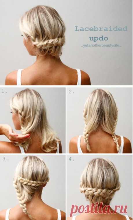 Como echar los cabellos de la longitud media. El encaje trenzado