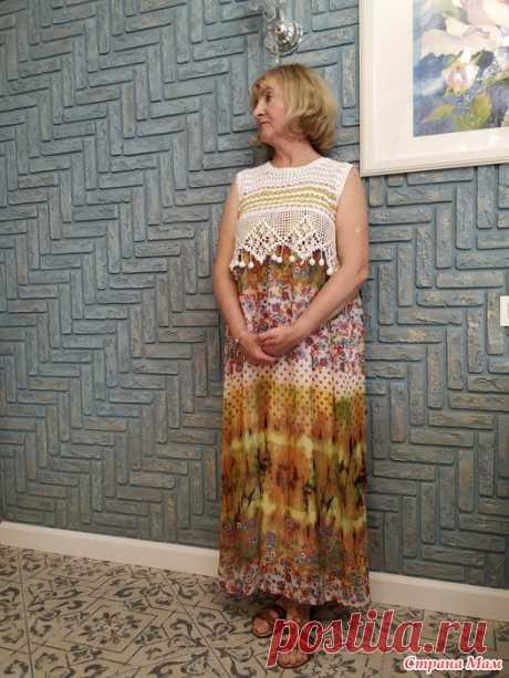 """Платье комбинированное """"Солнечный ветер"""" Здравствуйте, дорогие рукодельницы! Сегодня покажу вам новое платье..."""