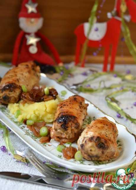 """Фаршированные куриные грудки """"Новогодние"""" - блюдо-восторг, подача - праздничная, начинка- вкуснючая!"""