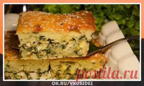 Заливной пирог на кефире с яйцами и зеленым луком