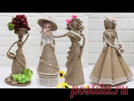 5 Beautiful Jute craft doll | How to decorate doll from jute rope - YouTube