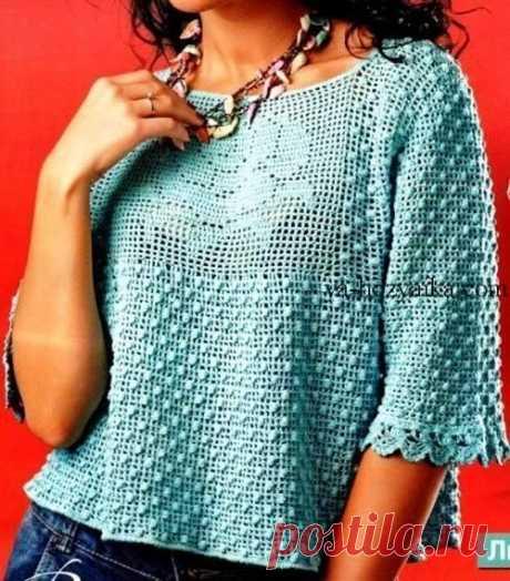 Пуловер с филейной розой. Женский пуловер для лета узором шишечки Голубой пуловер с филейной розой. Женский пуловер для лета узором шишечки
