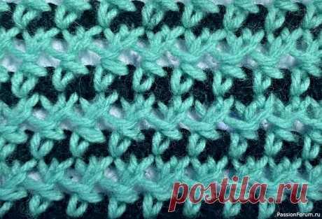 Узор ''Бантики''. Видео МК | Вязание спицами для начинающих Цветная сеточка, не редкая; ввиде чередования плотных и ажурных полос.