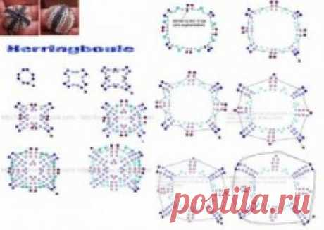 Бусины оплетенные из бисера Колье, бусы, ожерелья – Бисерок Круглые бусины оплетенные бисером. Схема оплетения бусин для самостоятельного изготовления.