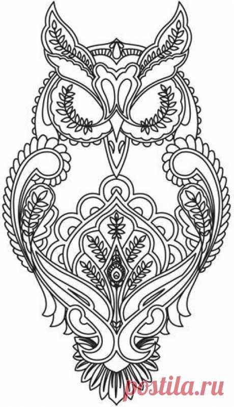 Full Moon Owl embroidery design by Tula Pink / Дизайн / трафареты / Pinme.ru / Мария Силантьева
