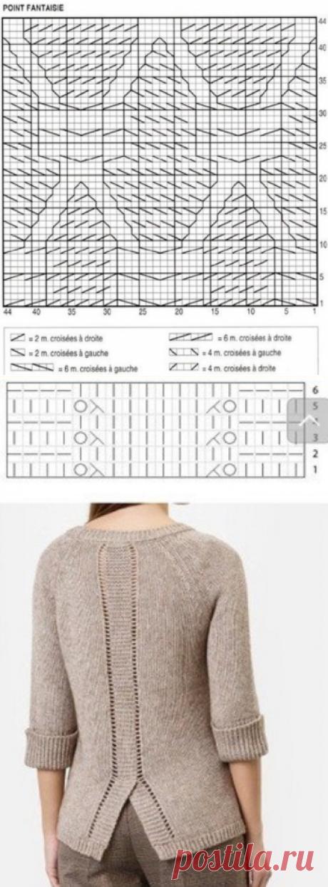 Бежевый пуловер спицами