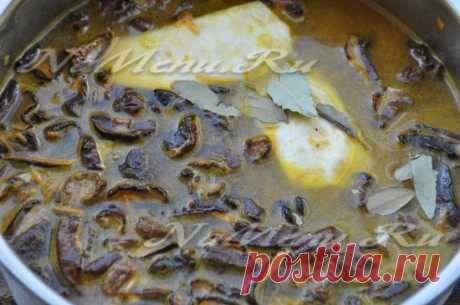 Рецепт постного супа с сушеными грибами