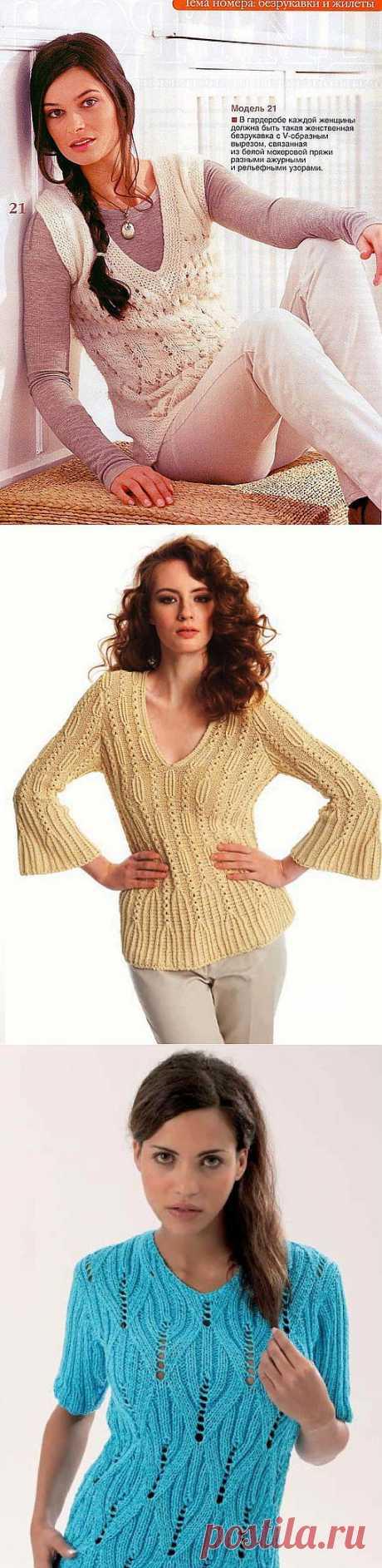 Пуловеры спицами. Подборка 130.