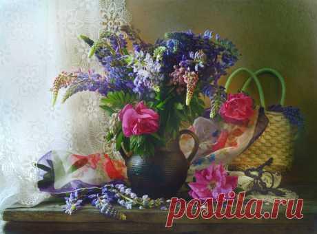 Натюрморты Цветы и шаль