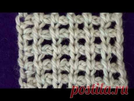 Tunisian knitting. A grid with air loops - YouTube