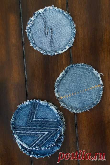 Подставки поделки из джинсов | Джинсы Upcycle | Царапина и стежка