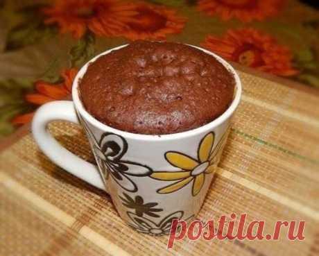 Шоколадный кекс в микроволновке из доступных продуктов, готовлю каждое утро.