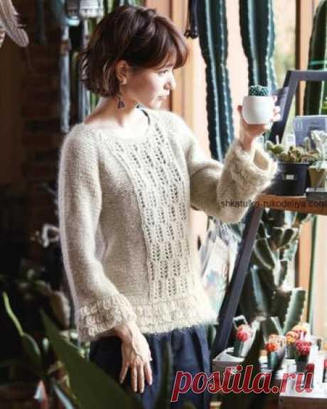 Пуловер с ажурной вставкой спицами. Вязаный пуловер с вытянутых петель со схемой | Шкатулка рукоделия. Сайт для рукодельниц.