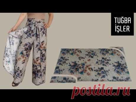 Как сшить юбку брюки и сделать выкройку (Самый легкий способ) | Tuğba İşler