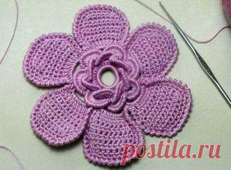 Красивый цветок крючком - как элемент ирландского кружева | razpetelka.ru