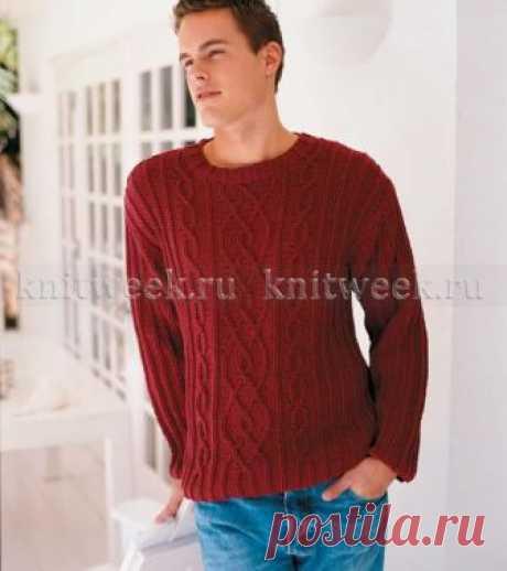 Красный пуловер с круглым вырезом