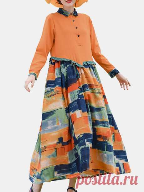 Лоскутное с длинным рукавом с принтом Винтаж Maxi Платье For Женское Ваш друг поделился с вами модным сайтом и дает вам скидку до 20%! требуй это сейчас.